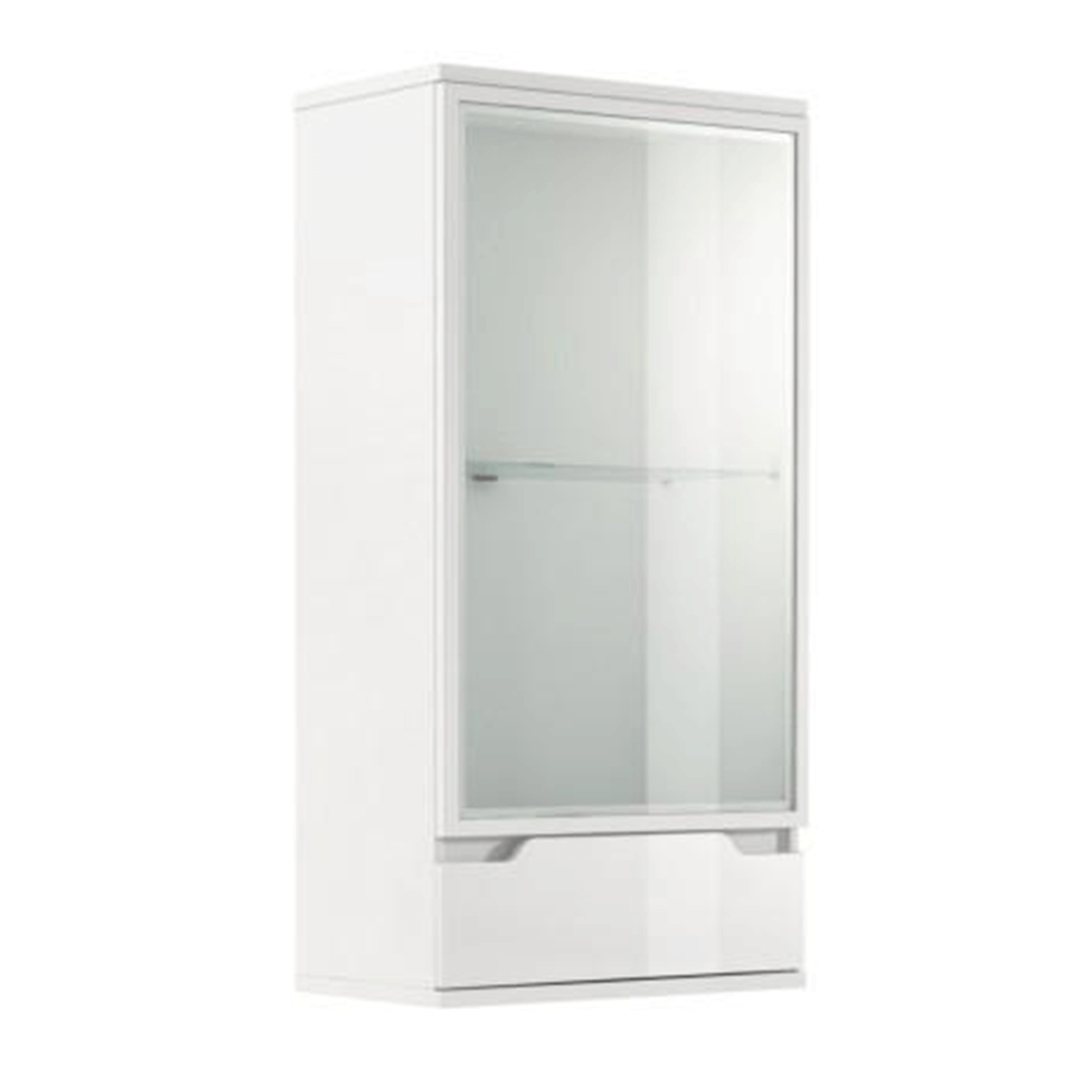 TEMPO KONDELA Závesná vitrína, biela/biela s extra vysokým leskom, ADONIS AS 08
