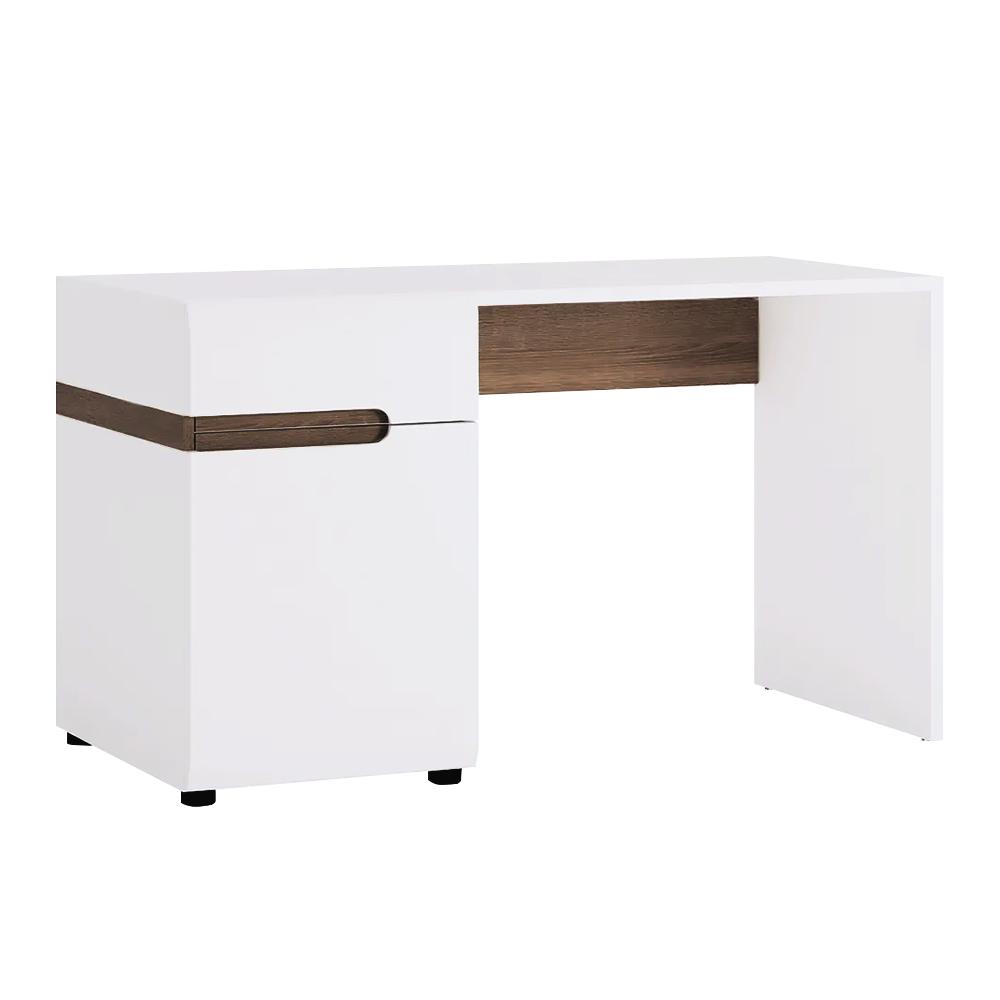 TEMPO KONDELA PC stôl, biela extra vysoký lesk HG/dub sonoma tmavý truflový, LYNATET TYP 80