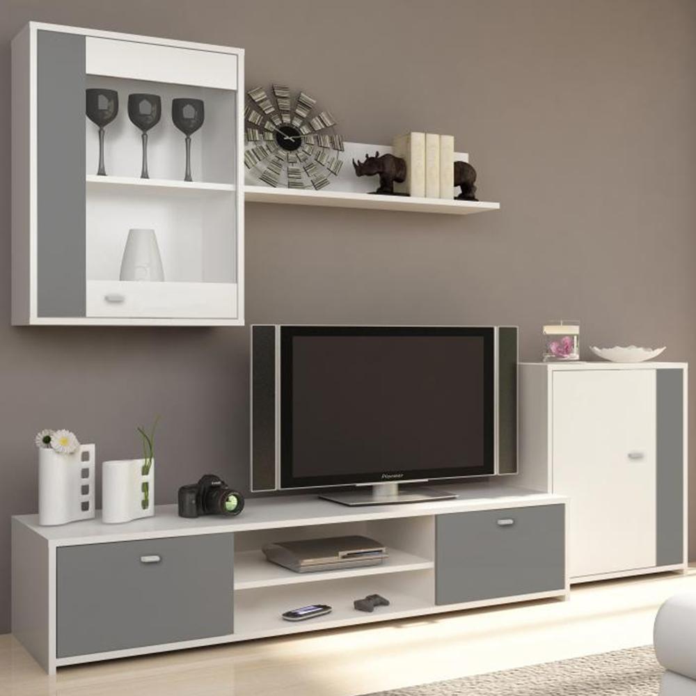TEMPO KONDELA Obývacia stena, biela/sivá, GENTA