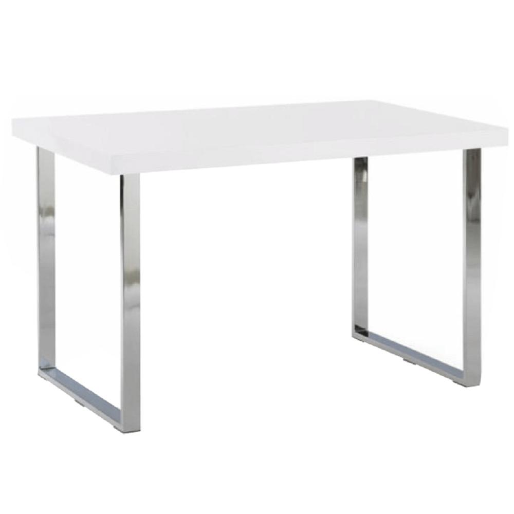 TEMPO KONDELA Jedálenský stôl, biela HG + chróm, TALOS