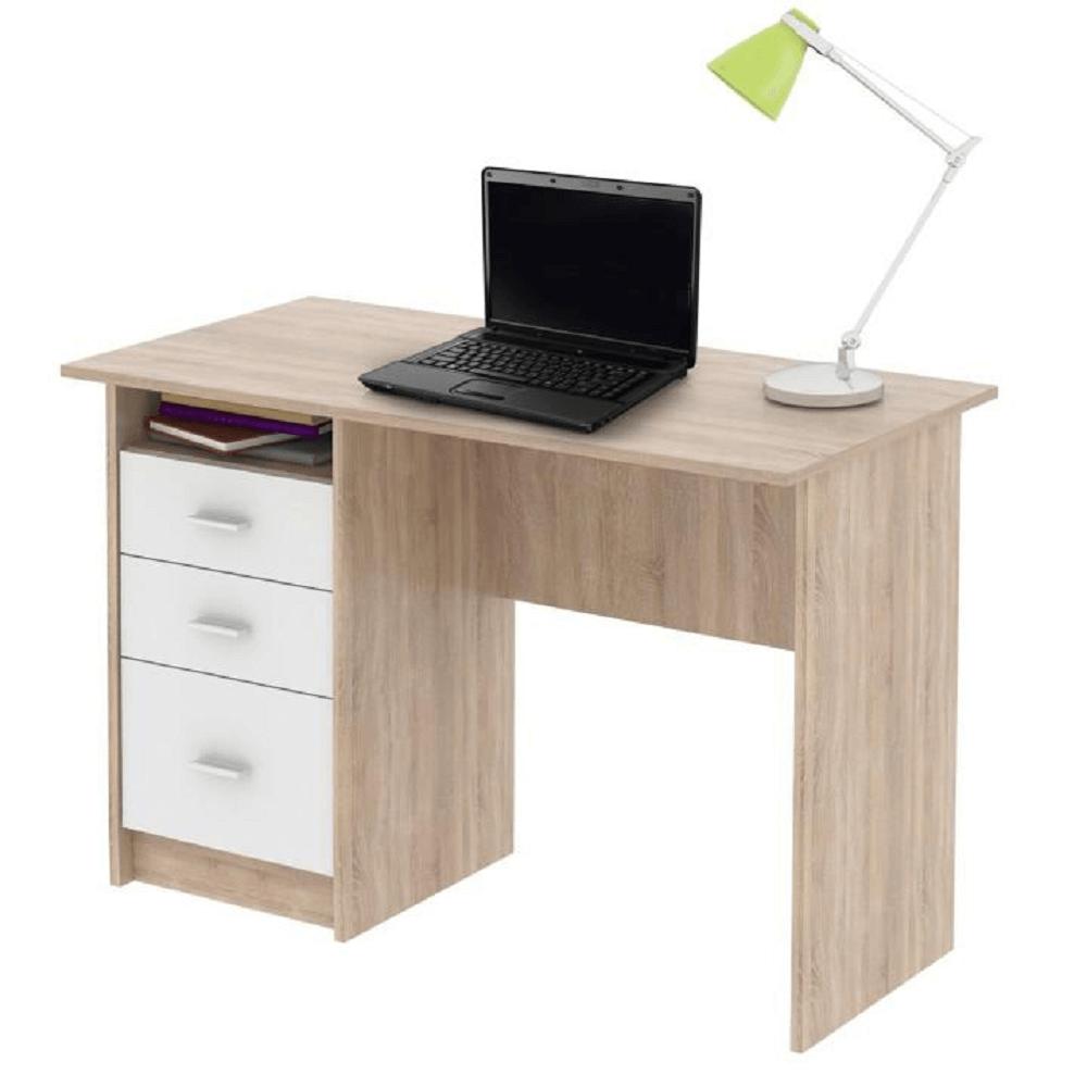 TEMPO KONDELA PC stôl, dub sonoma/biela, SAMSON NEW