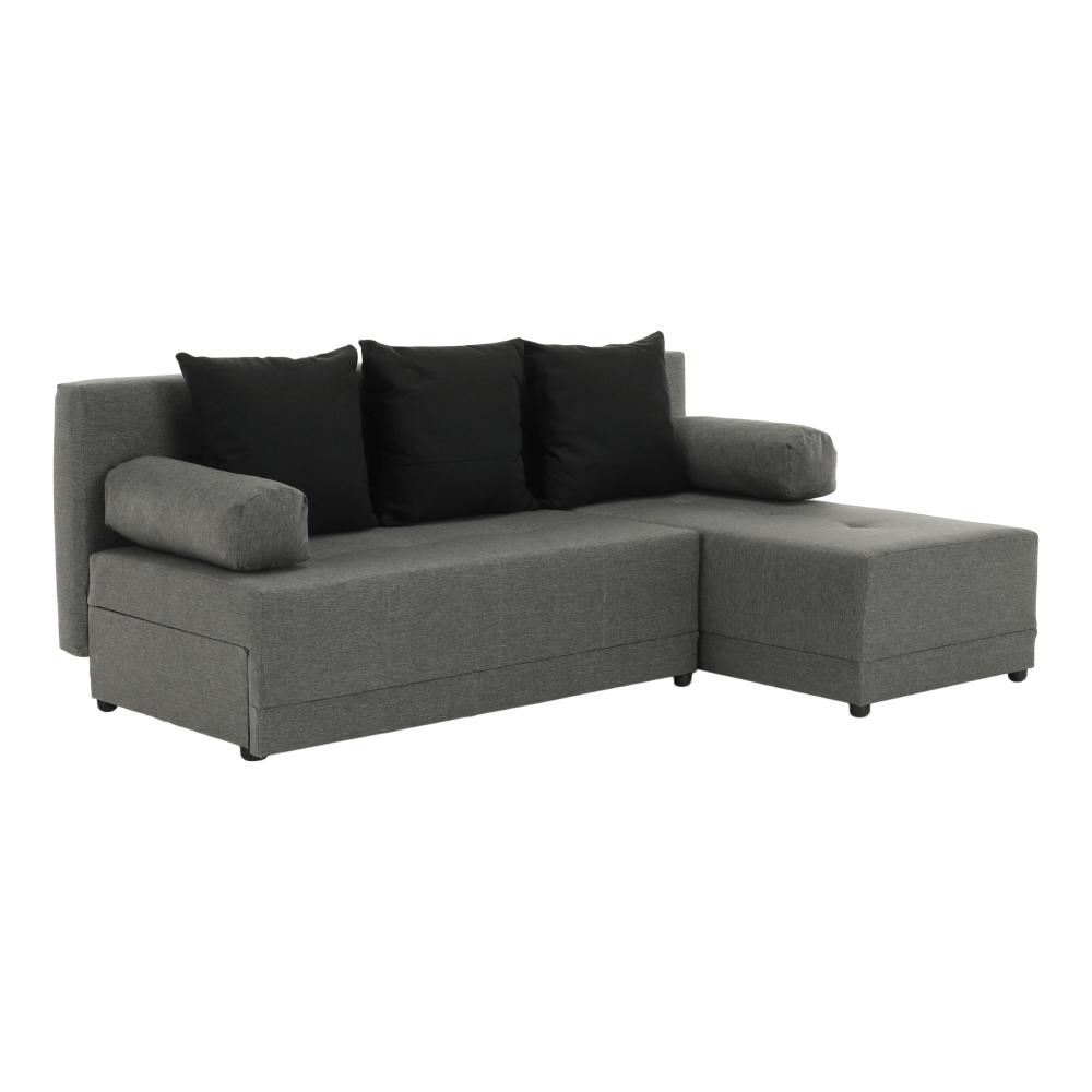 TEMPO KONDELA Rohová sedacia súprava, sivá/čierna, pravá, MEXX