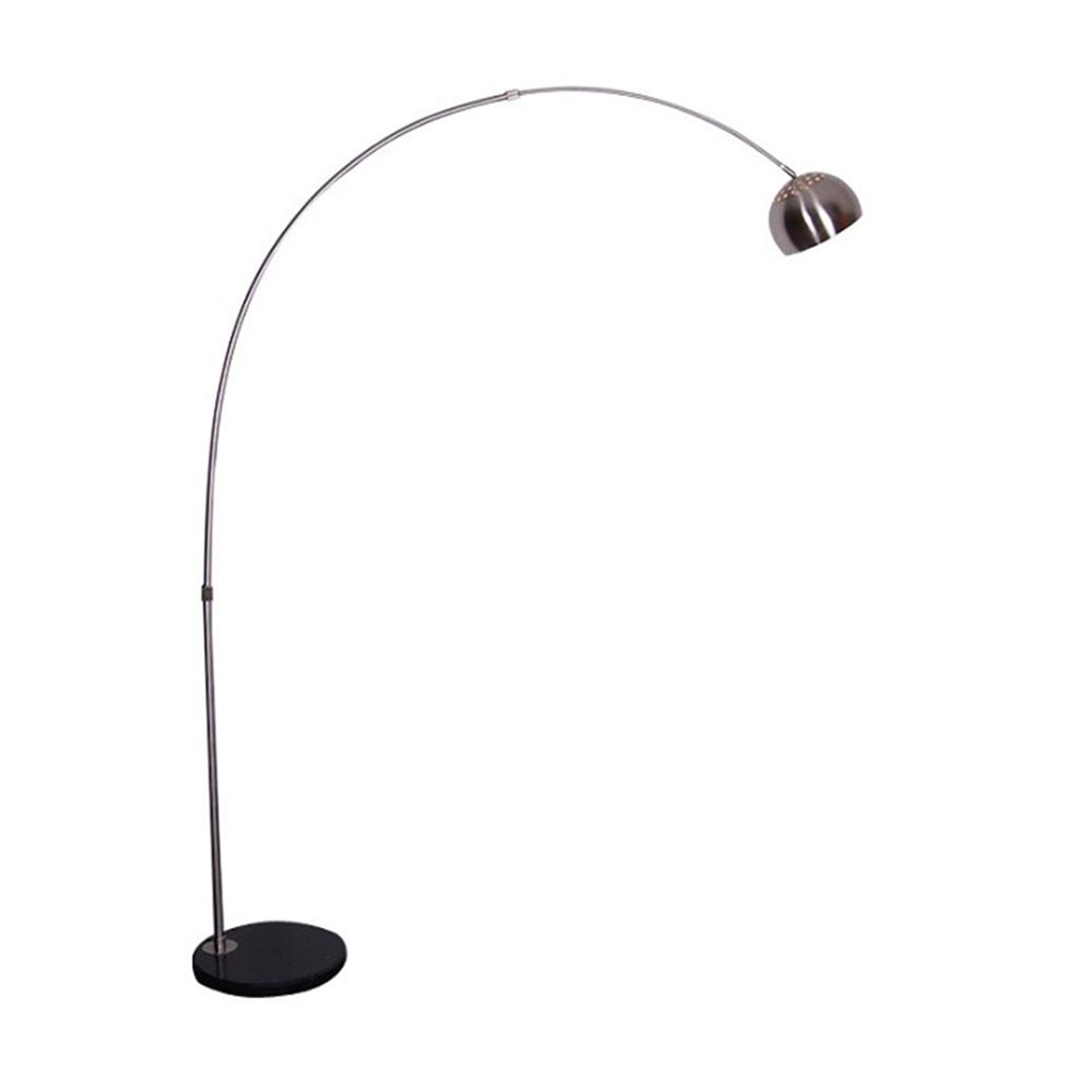 TEMPO KONDELA Oblúková lampa, nehrdzavejúca oceľ/čierny mramor, CINDA TYP 15 F1034-S