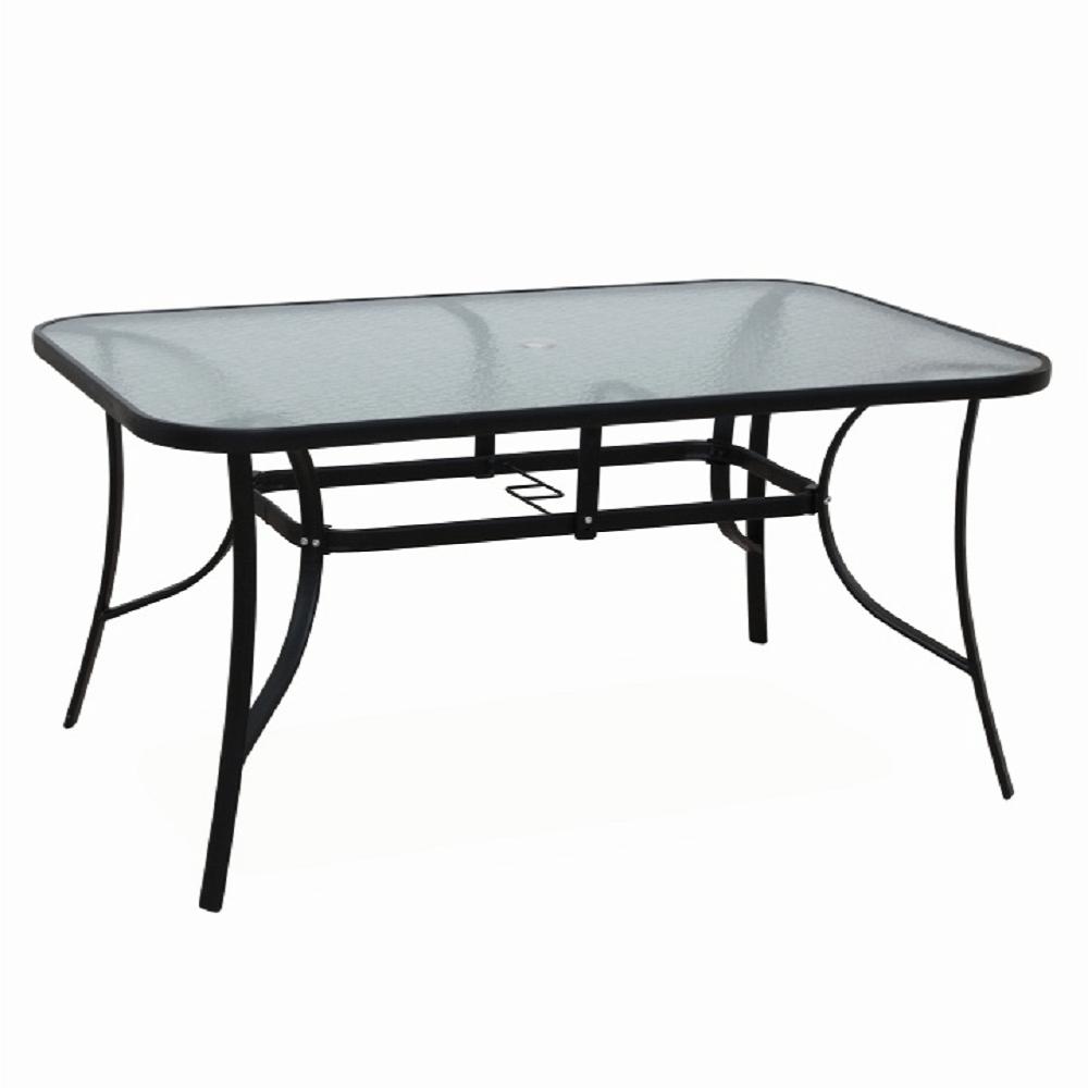 TEMPO KONDELA Jedálenský stôl, tvrdené sklo/oceľ, PASTER
