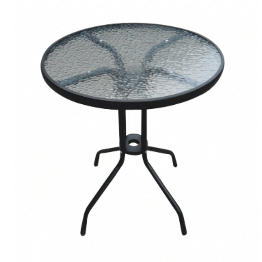 TEMPO KONDELA Jedálenský stôl, čiena oceľ/tvrdené sklo, BORGEN TYP 1
