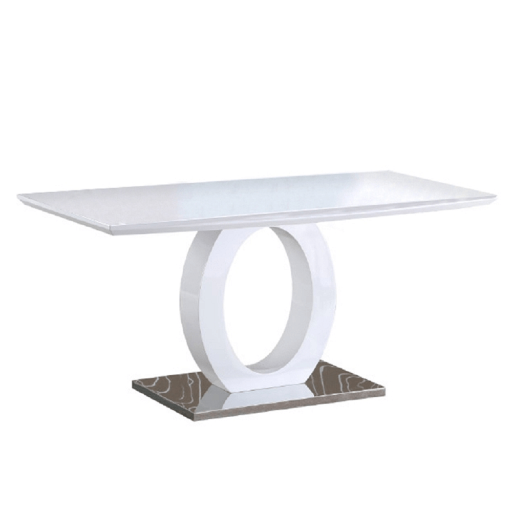 TEMPO KONDELA Jedálenský stôl, biela vysoký lesk/oceľ, ZARNI