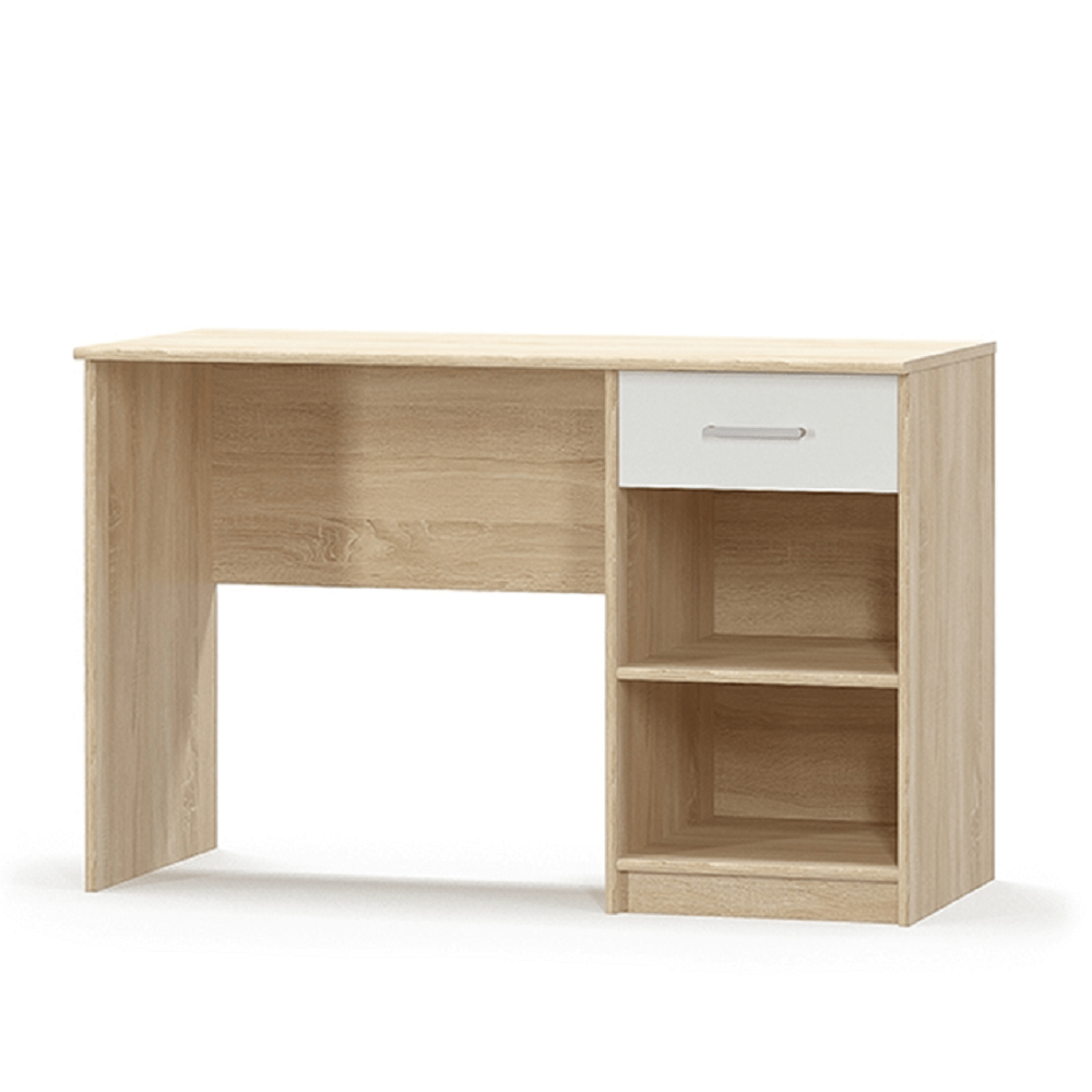 TEMPO KONDELA PC stôl 1S, biela/dub sonoma, TEYO