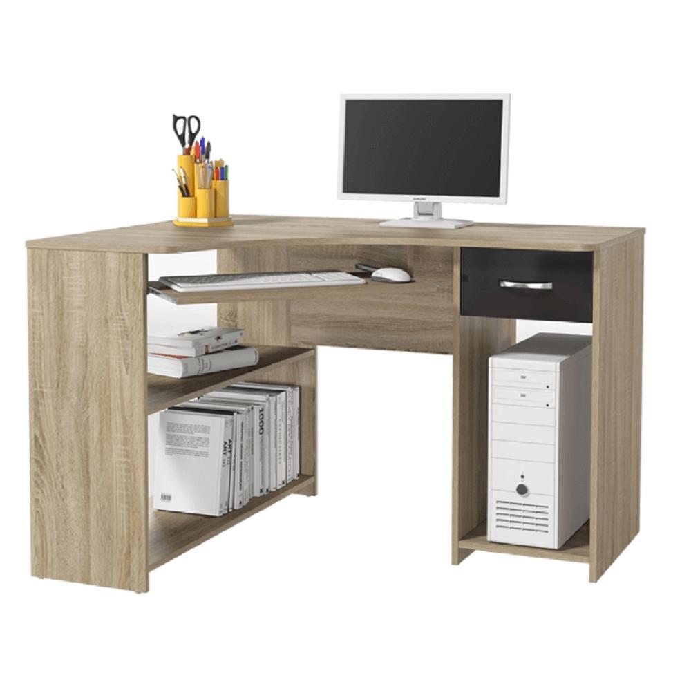 TEMPO KONDELA Rohový PC stôl, dub sonoma/čierny lesk, UMAG