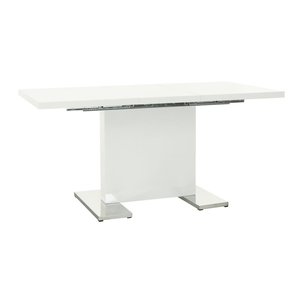 TEMPO KONDELA Rozkladací jedálenský stôl, biela vysoký lesk HG, IRAKOL