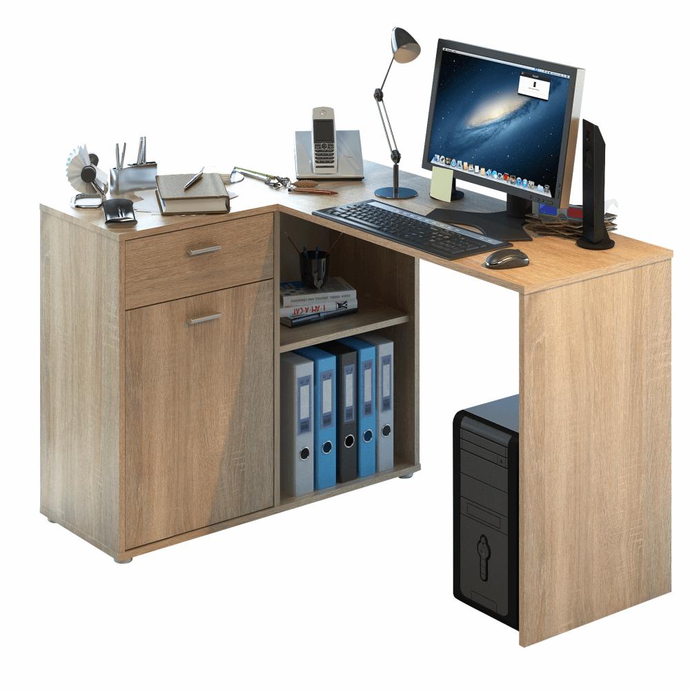 TEMPO KONDELA Rohový PC stôl, dub sonoma, KALIMERO