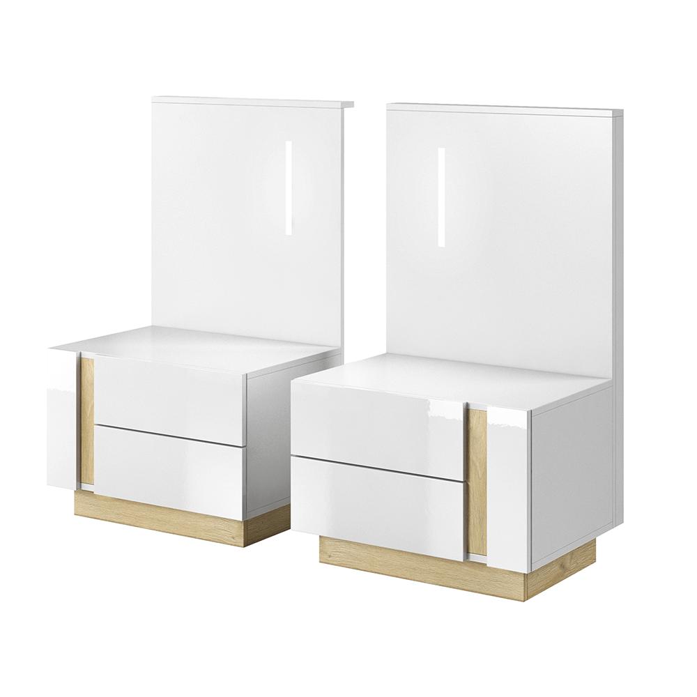 TEMPO KONDELA 2 nočné stolíky, biela/dub grandson/biely lesk, CITY