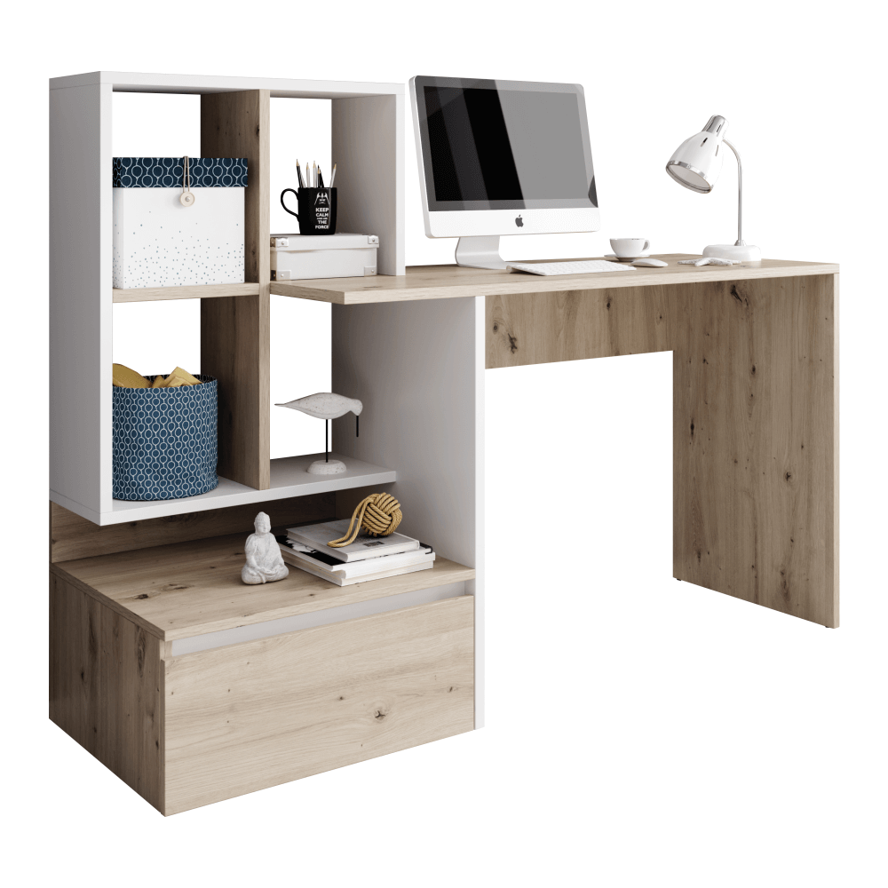 TEMPO KONDELA PC stôl, dub artisan/biely mat, NEREO