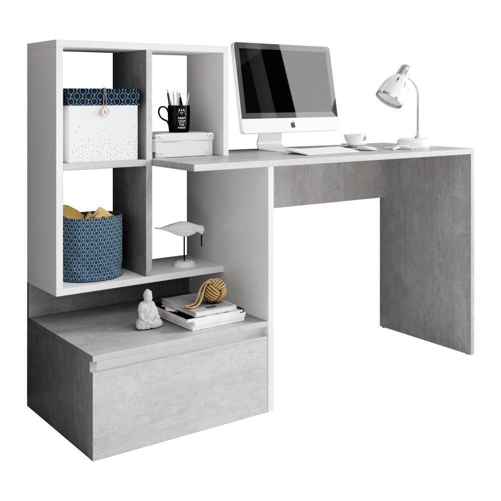 TEMPO KONDELA PC stôl, betón/biely mat, NEREO