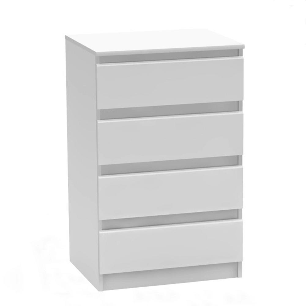 TEMPO KONDELA 4 šuplíková komoda, biela, HANY NEW 014