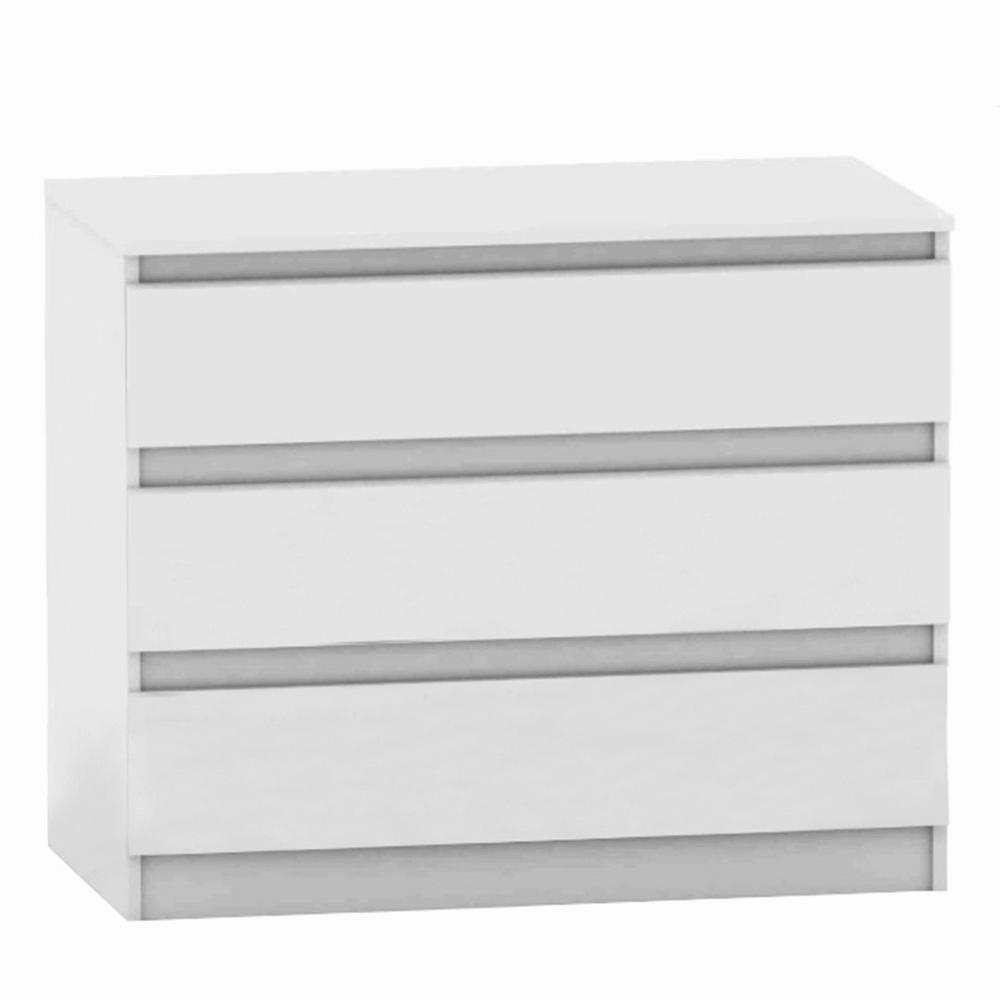 TEMPO KONDELA 3 šuplíková komoda, biela, HANY NEW 003