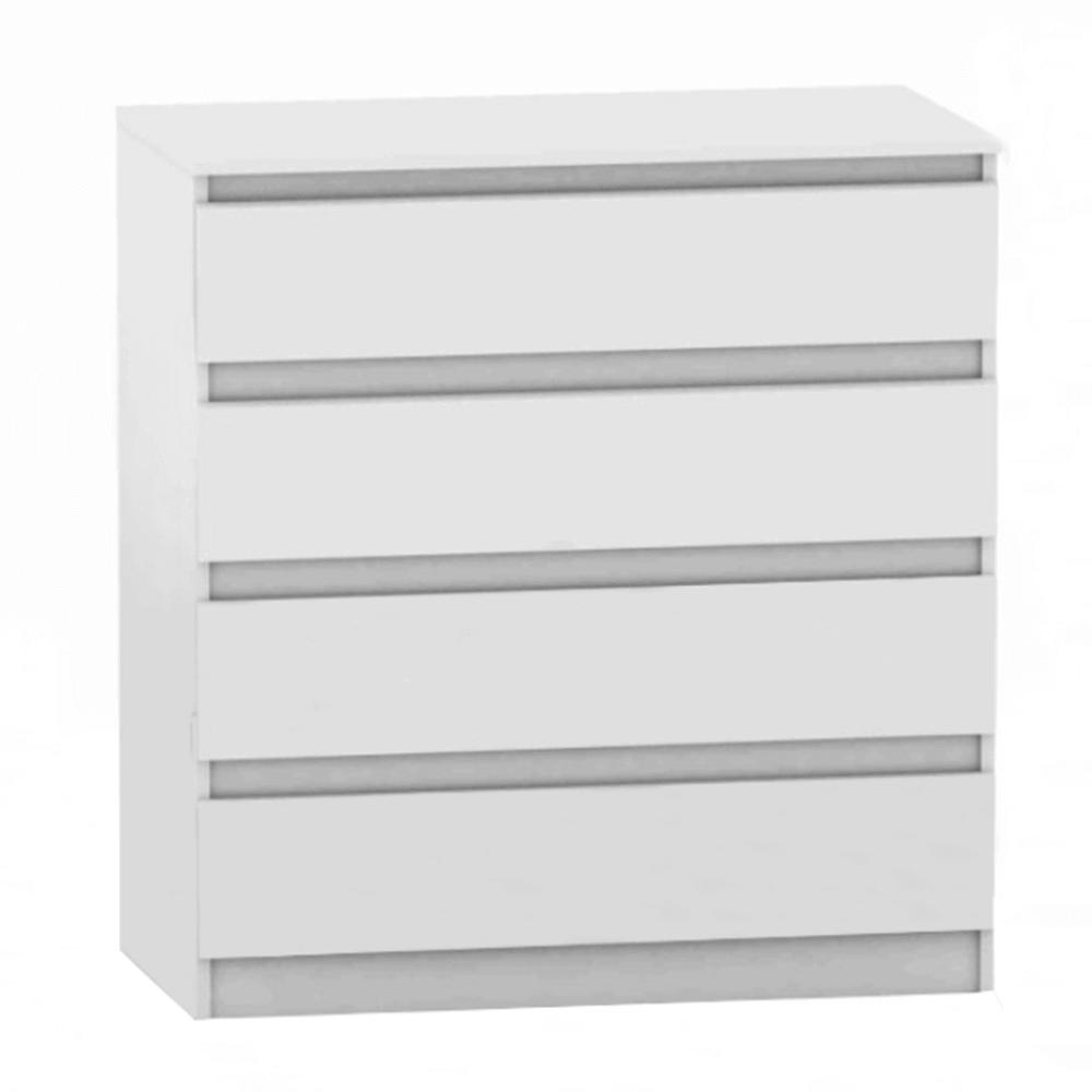 TEMPO KONDELA 4 šuplíková komoda, biela, HANY NEW 004
