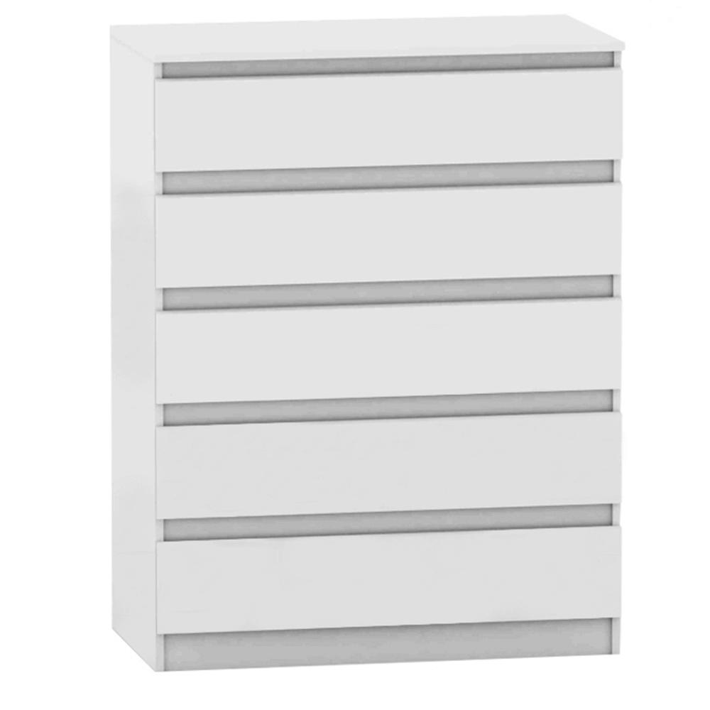 TEMPO KONDELA 5 šuplíková komoda, biela, HANY NEW 005