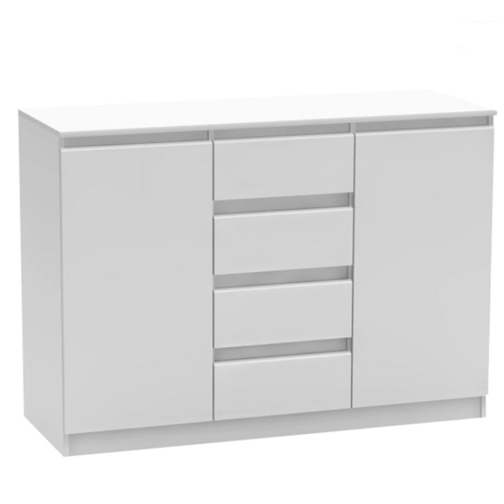 TEMPO KONDELA 2 dverová komoda so 4 šuplíkmi, biela, HANY NEW 010
