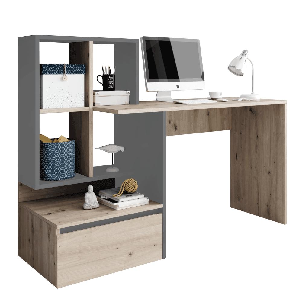 TEMPO KONDELA PC stôl, dub artisan/grafit-antracit svetlý, NEREO