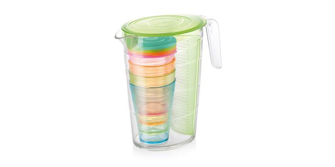 Džbán myDRINK 2.5 l, 4 poháre s viečkom, zelená