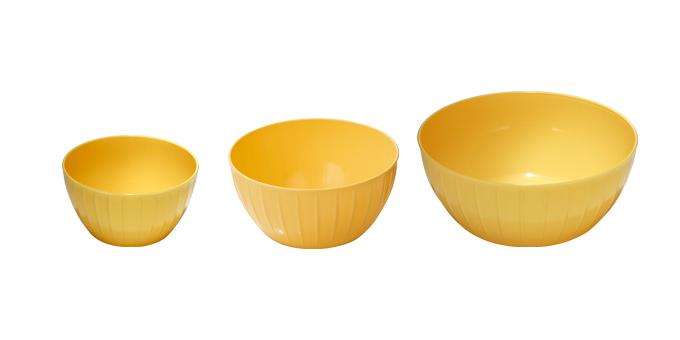 Misy plastové DELÍCIA, súprava 3 ks, žltá