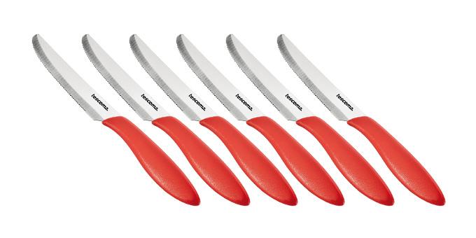 Nôž jedálenský PRESTO 12 cm, 6 ks, červená