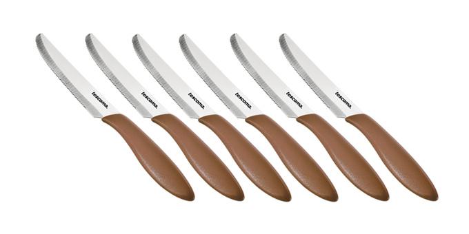 Nôž jedálenský PRESTO 12 cm, 6 ks, hnedá