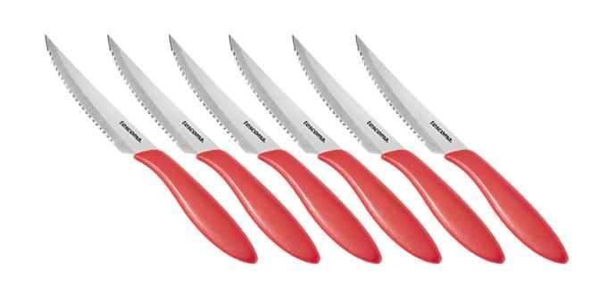 Nôž steakový PRESTO 12 cm, 6 ks, červená