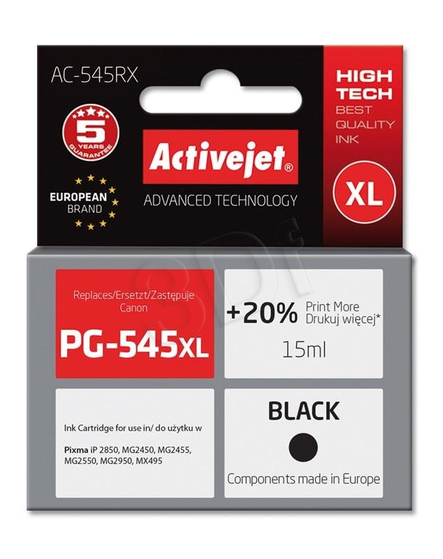 Atrament ActiveJet pre Canon PG-545XL Black AC-545RX 18ml