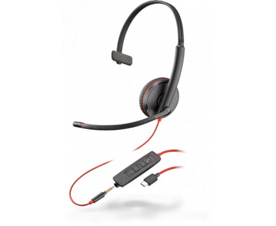 Plantronics BLACKWIRE C3215 USB-C, slúchadlá na jedno ucho