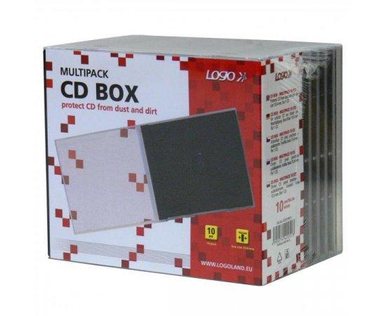 Box na 1 ks CD, priehľadný, čierny tray, Logo, 10,4 mm, 10-pack