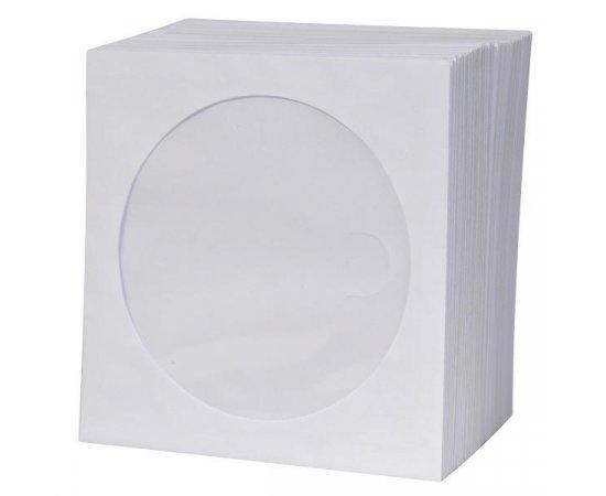 Obálka na 1 ks CD, papier, biela, s okienkom, Logo, 100-pack