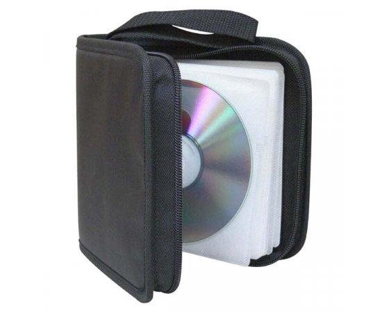Box na 48 ks CD, textil, čierny, album, zips