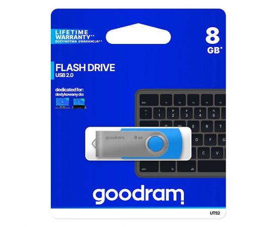 Goodram USB flash disk, 2.0, 8GB, UTS2, modrý, UTS2-0080B0R11, podpora OS Win 7, nové papierové balenie