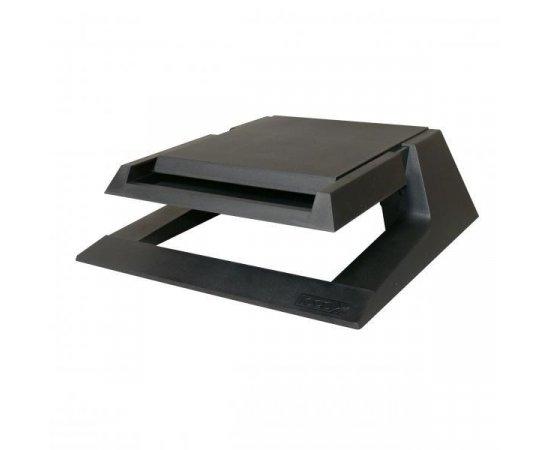 Podstavec pod monitor, so zásuvkou na kancelárske potreby, čierny, plast, 23 kg nosnosť, Logo, LCD aj CRT