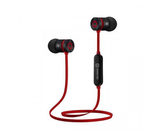 Powerton bezdrôtové bluetooth slúchadlá W2, s magnetickým uchycením, mikrofón, ovládanie hlasitosti, čierno-červená, šport. typ bl