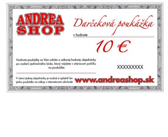 NOVA ESHOP Poukazka ANDREASHOP (platnost 6 mesiacov) 10,- Euro