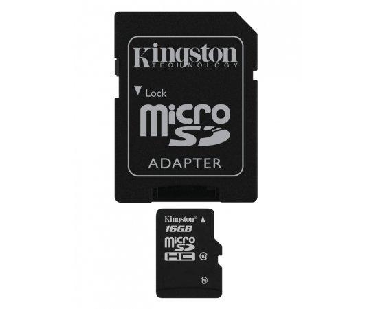 KINGSTON MICRO SDHC 16GB CLASS 10+ADAPTER, SDC10G2/16GB