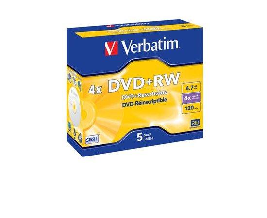 VERBATIM DVD+RW 4,7GB 4x box 5pck/BAL