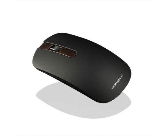 Modecom MC-WM102 bezdrátová optická myš, 3 tlačítka, 1000 DPI, USB nano 2,4 GHz, nízký profil, černo-hnědá