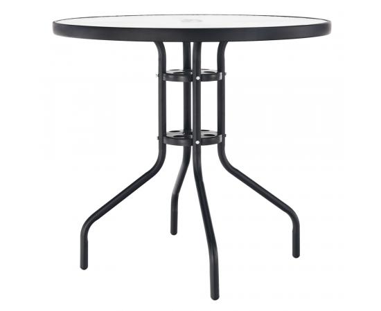 TEMPO KONDELA Jedálenský stôl, čierna oceľ/tvrdené sklo, BORGEN TYP 2