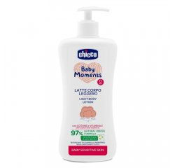 CHICCO Mlieko jemné telové s dávkovačom Baby Moments Sensitive 97 % prírodných zložiek 500 ml