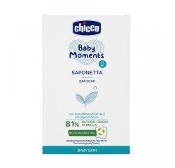 CHICCO Mydlo na ruky tuhé s rastlinným glycerínom Baby Moments 81 % prírodných zložiek 100 g