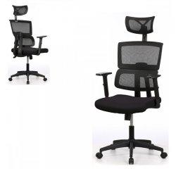 AUTRONIC KA-B1025 BK Kancelárska stolička, čierna mesh sieťovina, 3D nastaviteľná podrúčka, hojdací mechanizmus, kolieska na tvrdé podlahy