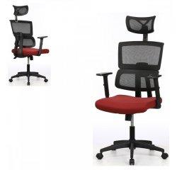 AUTRONIC KA-B1025 BOR Kancelárska stolička, bordová mesh sieťovina, 3D nastaviteľná podrúčka, hojdací mechanizmus, kolieska na tvrdé podlahy