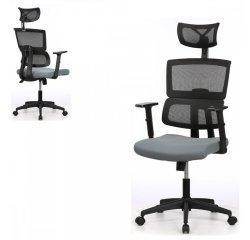AUTRONIC KA-B1025 GREY Kancelárska stolička, sivá mesh sieťovina, 3D nastaviteľná podrúčka, hojdací mechanizmus, kolieska na tvrdé podlahy