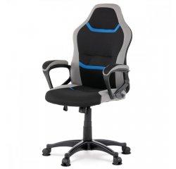 AUTRONIC KA-L611 BLUE Juniorská kancelárska stolička,čierno-sivo-modrá látka, hojdací mechanizmus, plastový kríž