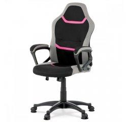 AUTRONIC KA-L611 PINK Juniorská kancelárska stolička, čierno-sivo-ružová látka, hojdací mechanizmus, plastový kríž