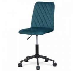AUTRONIC KA-T901 BLUE4 Kancelárská stolička detská, poťah modrá zamatová látka, výškovo nastaviteľná, kríž čierny plastový