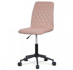 AUTRONIC KA-T901 PINK4 Kancelárská stolička detská, poťah ružová zamatová látka, výškovo nastaviteľná, kríž čierny plastový